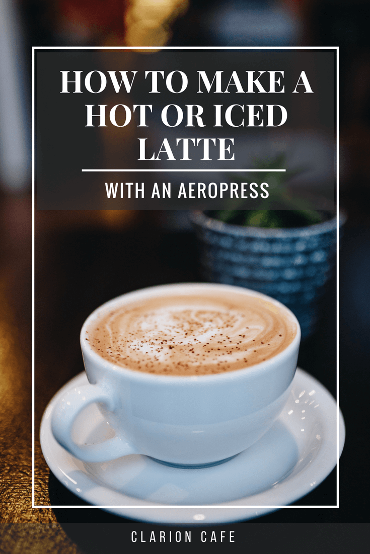 latte in a mug on a wooden surface with text that reads: how to make an iced latte with an Aeropress